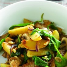 Aardappelstoofpotje met rundvlees en spinazie